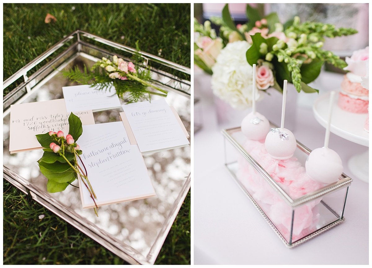 pink and grey calligraphy modern southern wedding invitation suite cake pops