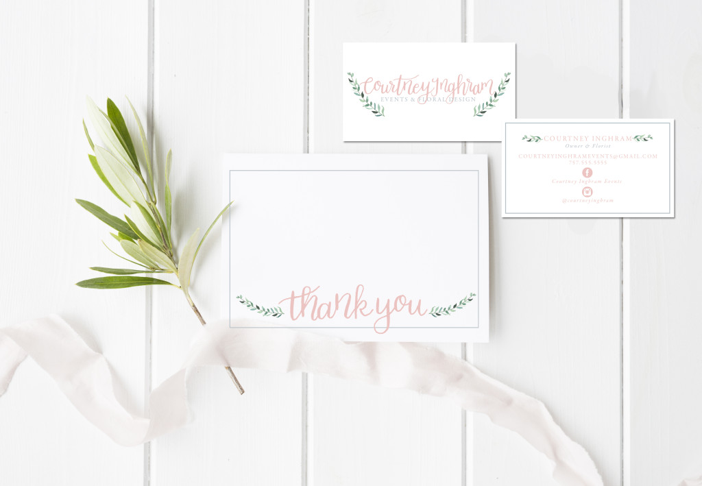 blush and blue branding collateral thank you card business card